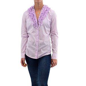 J. CREW Lilac Long Sleeve Ruffle Collar Top #AK3